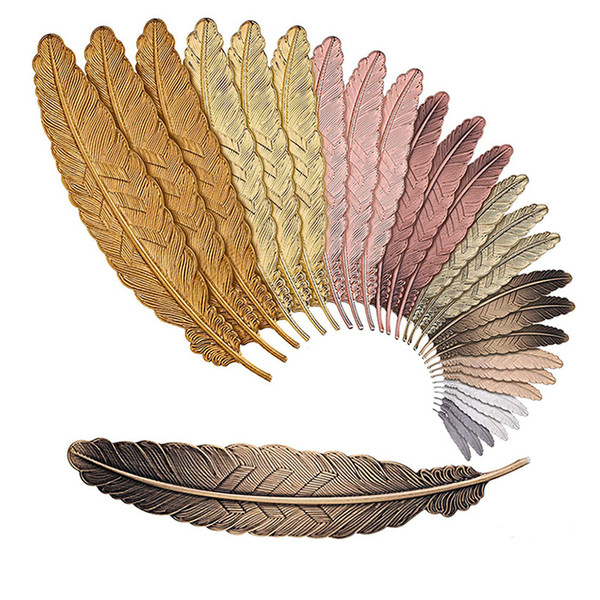 best selling Fashion Metal Feather Bookmark 7 Colors Document Book Mark Label Golden Silver Rose Gold Bookmark Office School Supplies