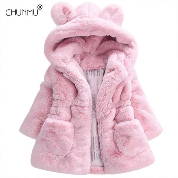 best selling Autumn Winter Faux fur Baby Coats for Girls Warm Kids Outerwear Fashion Ear Hooded For Kids Jacket Children Outwear Q1123