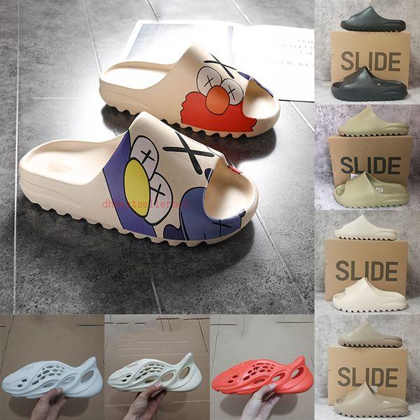 best selling 2021 Luxurys Kanye West Resin Slides Foam Runner Sandal Bone Desert Sand Triple Black White Designs Slipper 36-48 Men Women Loafers With Box