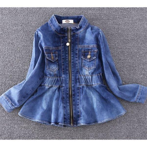 best selling Kids Girls Vintage Ruffles Peplum Denim Jackets Jeans Coats Spring Autumn Western Fashion Outwears Q1123