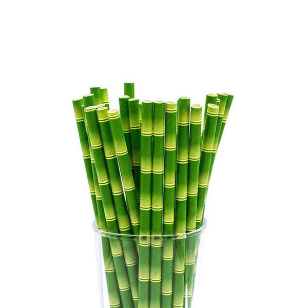top popular 25pcs lot Bamboo Paper Straws Jungle Party Happy Birthday Decorative Event Tropical Party Supplies Green Drinking Straw 2021