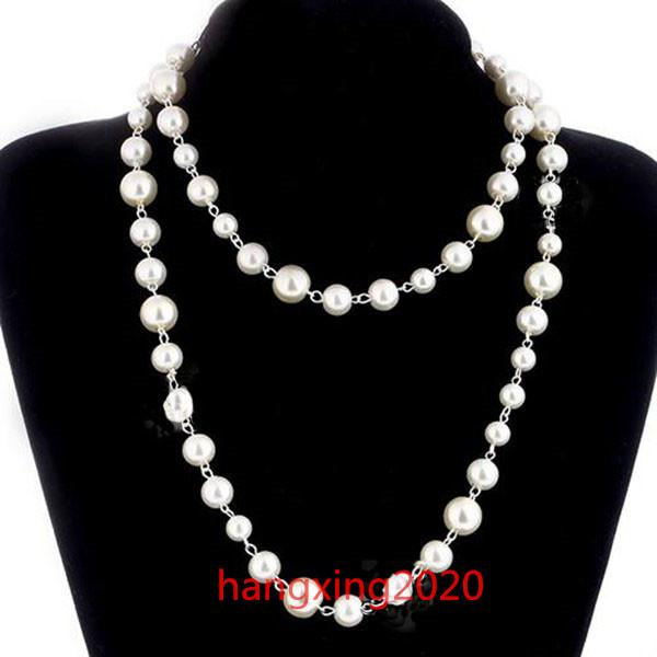 top popular Fashion Women Pearls Sweaters Necklace Rose Gold Plated Pearl Necklace for Female Best gifts Jewelry Accessories 2021