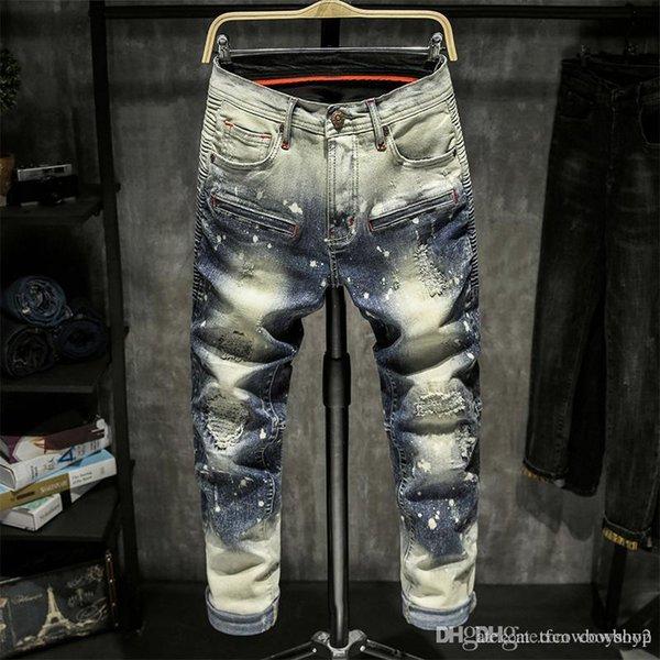 2021 new brand fashion luxury designer men's jeans square jeans black men's designer super tight men jeans de designer pour hommes