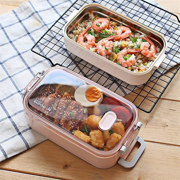 best selling ONEUP Stainless steel Lunch box Leakproof Double layer Bento Box Eco-Friendly Food container for Kids School Picnic Microwavable 201210