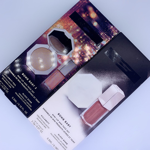 top popular Makeup Foundation Face Bronzer Powder Palette + Liquid Lipstick Lip Gloss Lipgloss 2IN1 Set DHL Free Shipping 2021