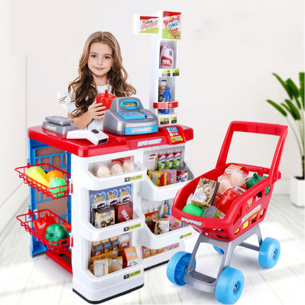 best selling New Sale 82cm Height Kitchen Set Pretend Play Toy With Light Kids simulation Kitchen Cooking Supermarket Play Food Cart Toy D212 Y200428