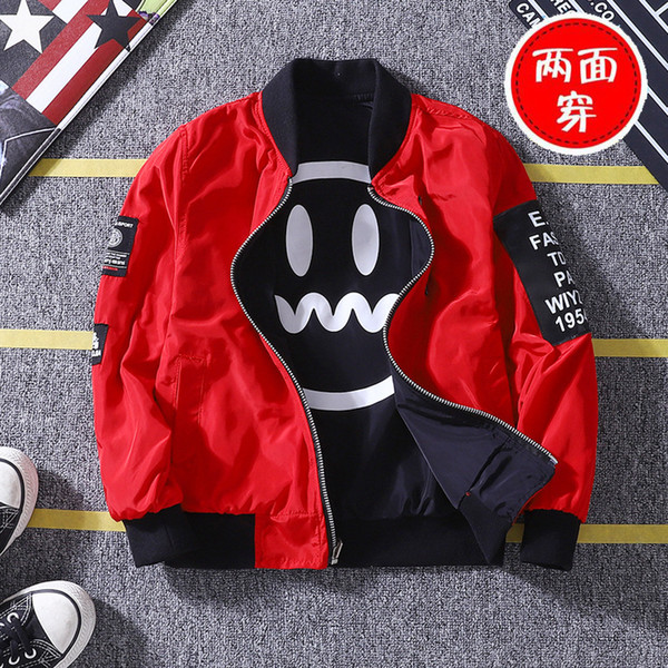 best selling Baby Boys Jacket Korean Version Spring Autumn Double-faced Smiley Face Printed Jacket Boys New Clothing Christmas Birthday Gift C1118