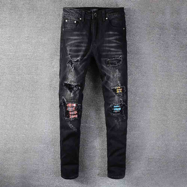 best selling Mens Jeans Classic hip hop denim Jeans new New hole Distressed Ripped Biker Jean Slim Fit Motorcycle pants HJ2