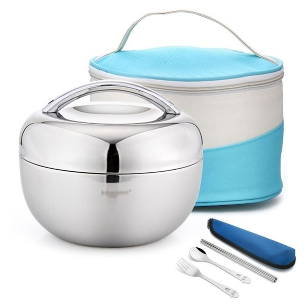 top popular 304 Stainless Steel Double Wall Vacuum Thermal Lunch Box For Kids Office Food Storage Container School Insulation Bento Box Set 201210 2021
