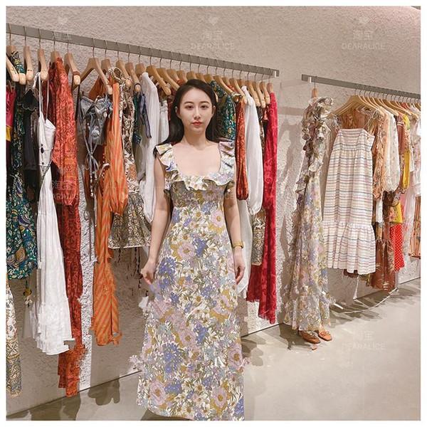 best selling 2020 popular logo high-end linen print dress with bare back and aural edge sanya resort dress
