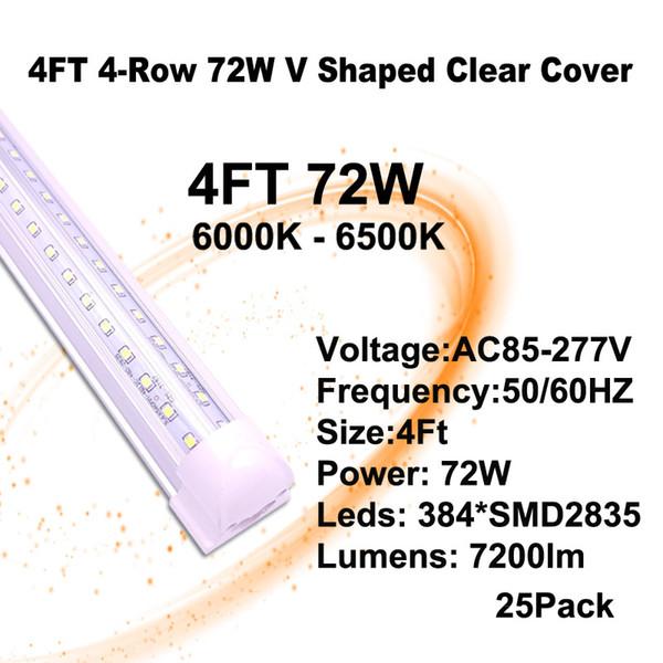 4 피트 72W 클리어 커버 V - 모양의 LED 튜브