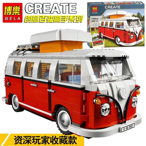 top popular Bela Volkswagen T1 Camper Van Model Building Blocks Bricks Toys Creator Compatible with lepinblock City lepinblock Technic 2021