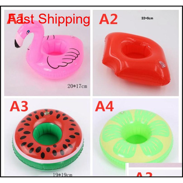 top popular Inflatable Drink Cup Holder Colorful Cup Mat Donut Flamingo Watermelon Lemon Shaped Pvc Swimming Pool Floating Ma qylGtg packing2010 2021