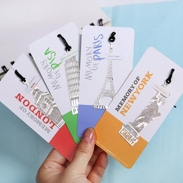 top popular 1pc London Eiffel Tower Statue Of Liberty Book Markers Metal Bookmark For Stationery Books Office jllPvT 2021