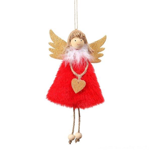 Colgante de ángel de peluche rojo
