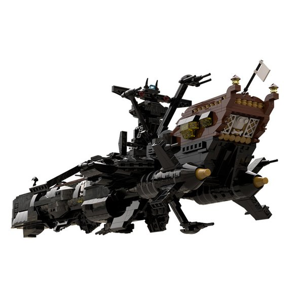 """best selling MOC The Building Block Toy of The Space Battleship Arcadia in The Comic """"Space Pirate Captain Hallock"""" is Suitable for Children J1204"""