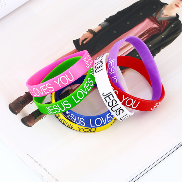 """Cool Colorful Custom Silicone Bracelet """"JESUS LOVE YOU"""" Popular Rubber Sports Wristband & Bangle For Kids Adult Sport brta68Q1228 '"""