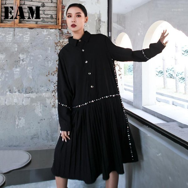 eam] women black hem pleated stitch big size shirt dress new lapel long sleeve loose fit fashion tide spring autumn 2020 1s1211, Black;gray