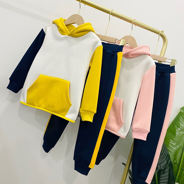 top popular Baby Girl boy Kids cartoon sports Clothes set Hoodied Coat tops Pants 2pcs Sweatsuit baby Girl Spring Fall OutfitsTracksuit suit 85OE 2021