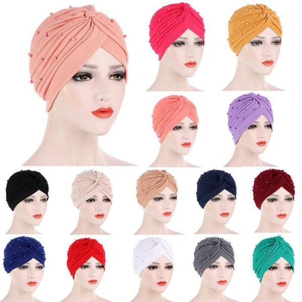 best selling Women Muslim Islamic Elastic Turban Hijabs Hat Head Scarf Beads Beanie Hat Headwear Fashion Ruffle Turban Cap Accessories1