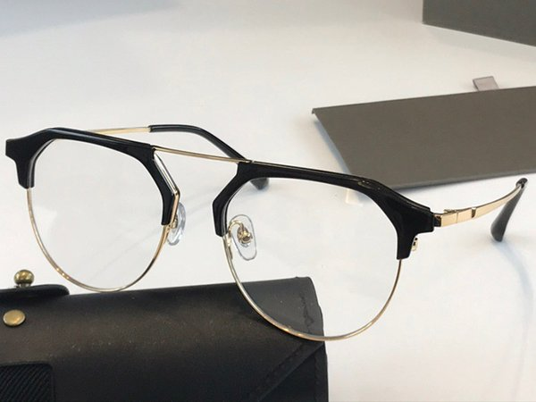 Black gold frame transparent lens