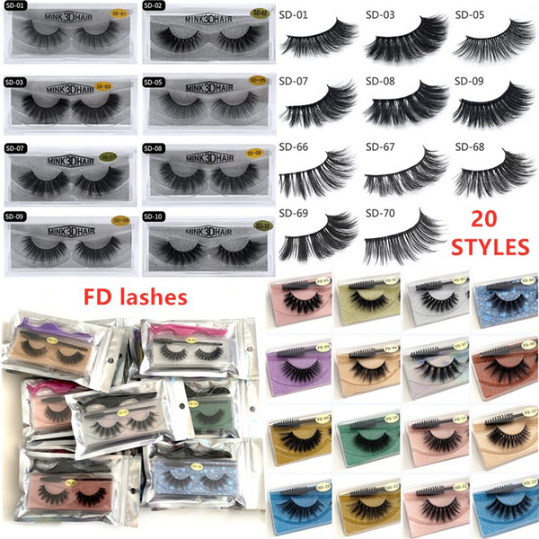 top popular 20style 3d Mink eyelash False Eyelash Soft Natural Thick 3d mink HAIR false eyelash natural Extension 3d Eyelashes DHL free shipping 2020