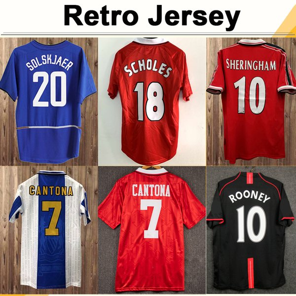 best selling 92 98 Mens CANTONA GIGGS KEANE RETRO Soccer Jerseys BECKHAM SOLSKJAER SCHOLES FERDINAND ROONEY CHICHARITO Home Away Football Shirt Uniforms