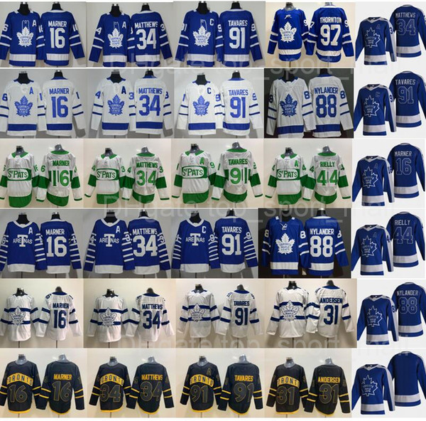 best selling Reverse Retro Toronto Maple Leafs Auston Matthews Jersey John Tavares Mitchell Marner William Nylander Andersen Morgan Rielly Joe Thornton