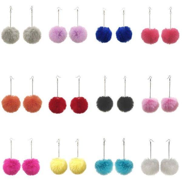 top popular 2021 Winter Women Accessories Fashion Lovely Pom Pom Fur Ball Long Pendant Dangle Earring Jewelry Christmas Gift 2021