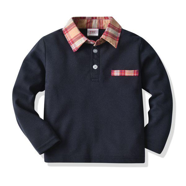 best selling Boy's T-shirt Long Sleeve Polo Collar Children T-shirt Fashion Classic Spring Autumn Kids T-shirt Pullover