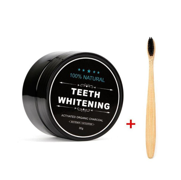 best selling Black Toothpaste Activated Carbon Teeth Whitening Powder with Brush Charcoal Teeth Dental Oral Care Whitening Toothpaste 30g