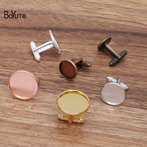 best selling BoYuTe (20 Pieces Lot) Round 12-14-16-18-20MM Blank Cuff Links Base Tray Bezel Vintage Diy Hand Made Jewelry Accessories