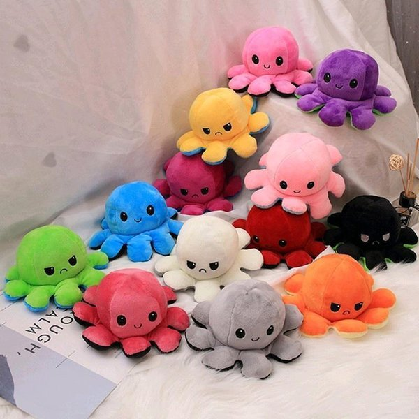 10pcs Flip Octopus Plush Stuffed Party Toy Soft Animal Double-Sided Smile Sad Emotion Cute Doll Children Gifts Baby Companion