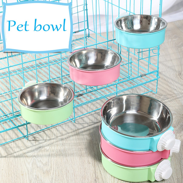best selling Hanging Pet Bowl Can Hang Stationary Stainless Steel Cage Bowls Puppy Feeding Food Dish Cat Drinking Water Feeder