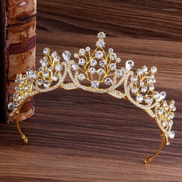 best selling Baroque Sparkling Gold Red Green Blue Crystal Wedding Crown Headband Bridal Tiaras Rhinestone Pageant Diadem Hair Accessories1