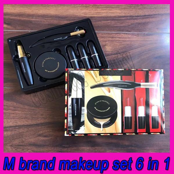 top popular .HOT M Makeup Set 6 in 1 Endless Sunshine Set Matte Lipstick LipGloss Eyeliner Mascara Foundation MakeUp Cosmetic Kit 2021
