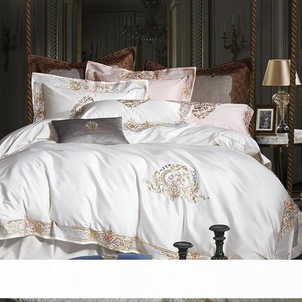 best selling 1000TC Egyptian Cotton Royal Luxury Bedding Set White King Queen Size Embroidery Bed Set Duvet Cover Bedsheet Set Parrure De Lit