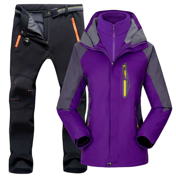 top popular Women Suit Outdoor Hiking Skiing Waterproof Jackets Fleece Winter Warm Fishing Trekking Ski jacket Pant Set for Female 2021
