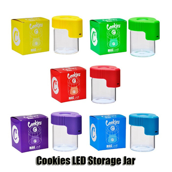 best selling Cookies LED Storage Jar Magnifying Stash Container 155ml Mag Jar Glowing Container Vacuum Bottle for Dry Herb Tobacco Gummies Edible