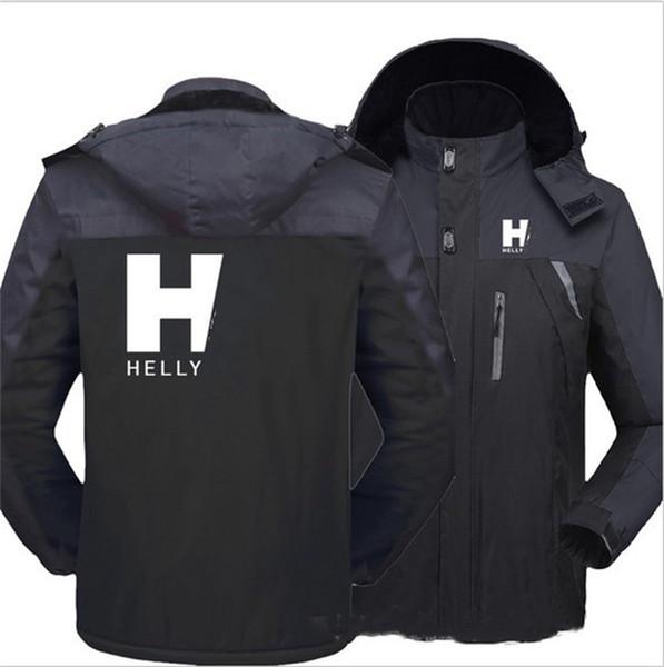 top popular M-5XL Winter Mens Helly Designer Windbreaker Jacket Hooded Zipper Coat Fleece Lined Softshell Waterproof Sport Outdoor Outwear E111603 2020