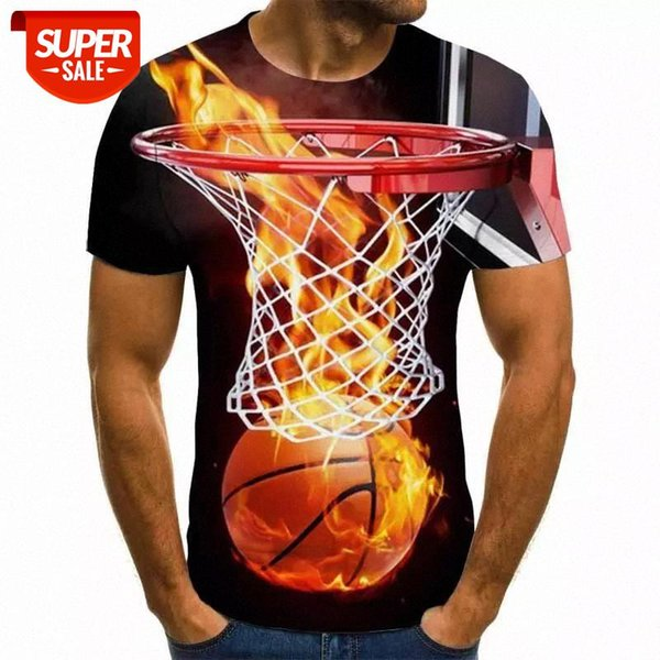top popular 2020 New Arrival Funny 3d T Shirt Summer Hipster Short Sleeve Tee Tops Men Women flame Basketball T-Shirts Homme #CG9c 2021