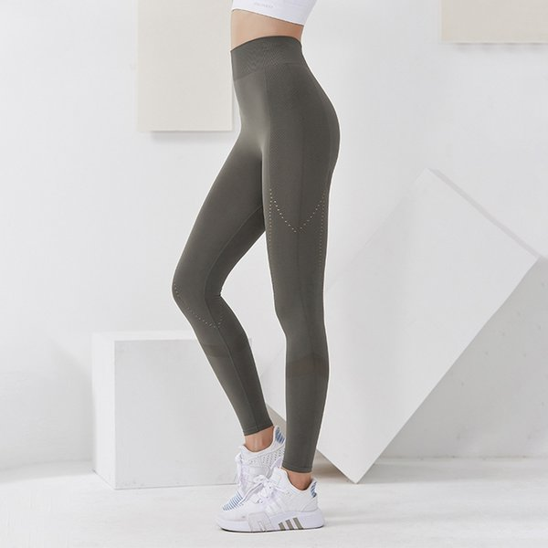 best selling New Splicing Naked Feeling Hollow Yoga Pants Women's Running Fitness Pants High Waist High Elastic Sports Tights