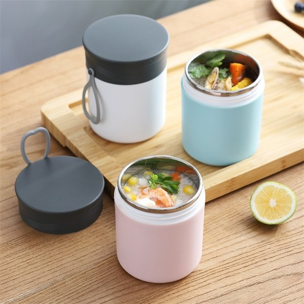best selling 430ml Thermos Insulation Lunch Box 304 Stainless Steel Inner Bento Box Portable Outdoor Food Container for Office School 201210
