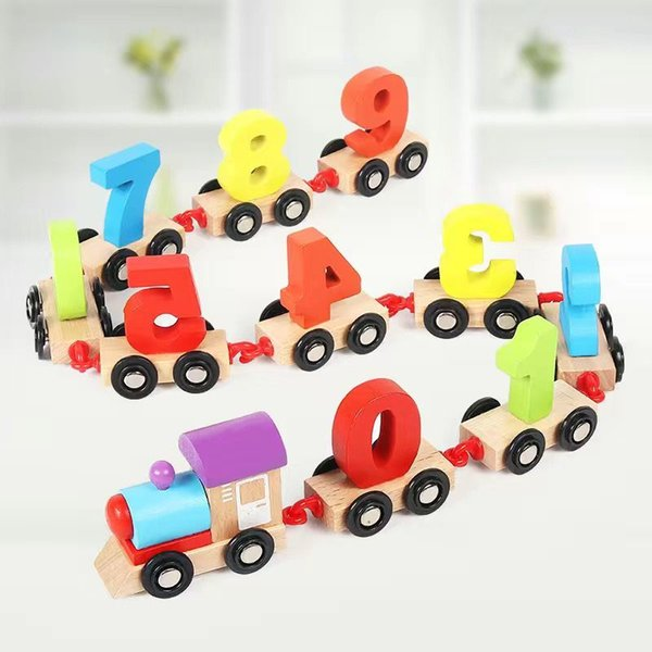 best selling Children dragging digital small train early education puzzle building block toys