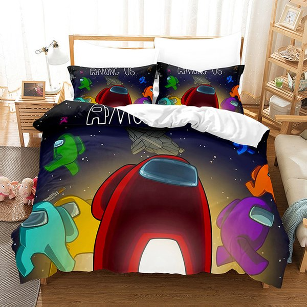 top popular 3D Among Us Bedding Sets Cartoon Digital Printing Three Quilt Cover Pillowcase Bedsheet Cover Suit Duvet Cover Bedding Sets 10Styles E121005 2021