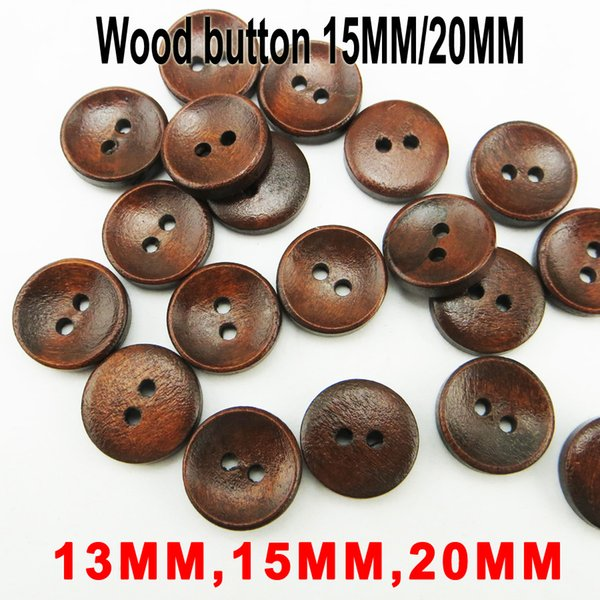 top popular 500PCS 13MM 15MM 20MM Deep Coffee Painting Wooden Buttons Coat Boots Sewing Clothes Accessory MCB-046 2021