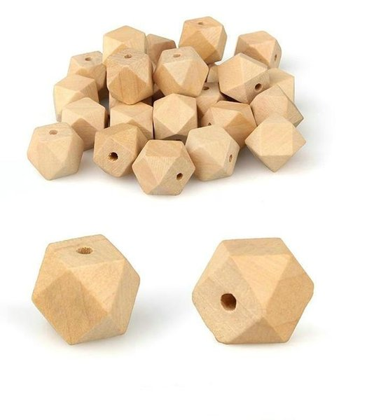 best selling Original Color Natural octagonal Wood Spacer Beads For DIY Jewelry Making 18 20 25 30 35 40mm Pick Size Wood Beads Baby Teething
