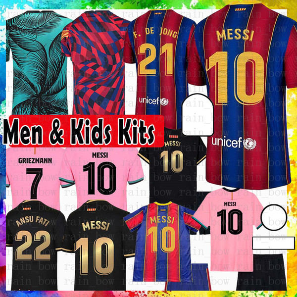 top popular 10 MESSI Barcelona Maillots de football shirt soccer jersey 8 A. INIESTA GRIEZMANN F. DE JONG SUAREZ DEMBELE COUTINHO MALC Men kids kit 2021