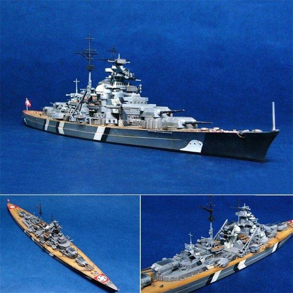 best selling 1 700 Scale the World War II Germany Navy Battleship KMS Bismarck Battleship Ship Model Kit Ship Toy Plastic Model Assembly Toy Y200428