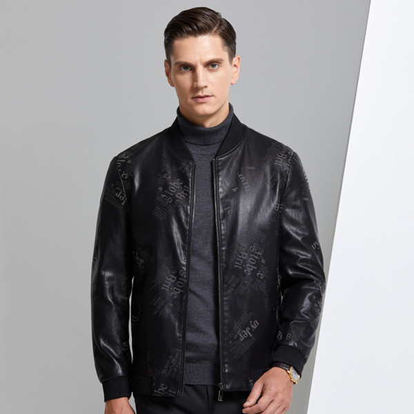best selling 2020 autumn young men baseball PU leather printed jacket men fashion short high-quality tactical black jacket easy-care
